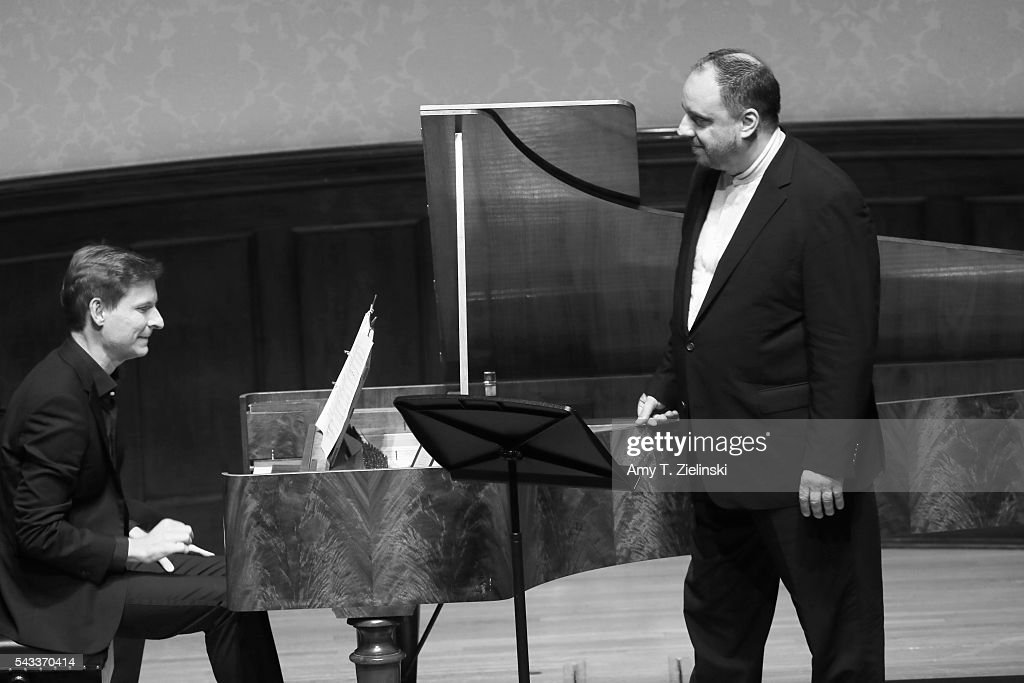 Baritone Matthias Goerne and pianist Kristian Bezuidenhout (L) present six songs of 'An die ferne Geliebte' together with a selection of other songs by composer Beethoven at Wigmore Hall on June 27, 2016 in London, England.