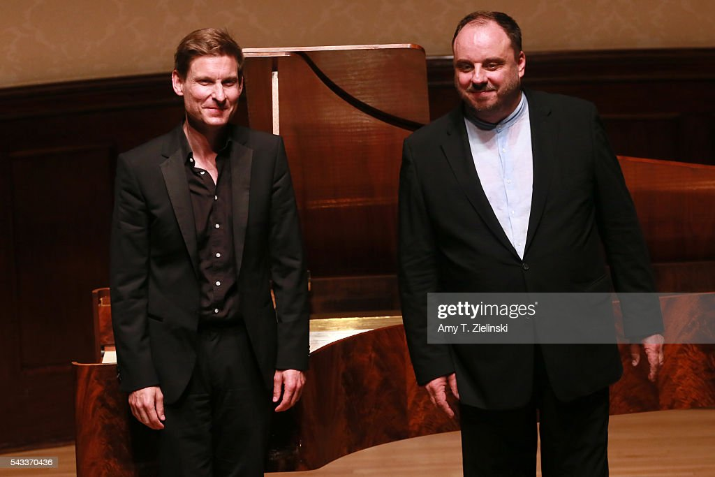 Baritone Matthias Goerne and pianist Kristian Bezuidenhout (L) receive the audience after presenting six songs of 'An die ferne Geliebte' together with a selection of other songs by composer Beethoven at Wigmore Hall on June 27, 2016 in London, England.