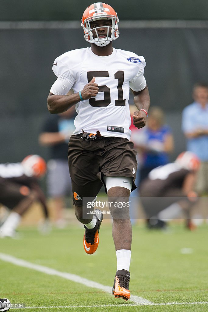 Barkevious Mingo of the Cleveland Browns runs drills during rookie camp at the Cleveland Browns Training facility on May 10 2013 in Cleveland Ohio