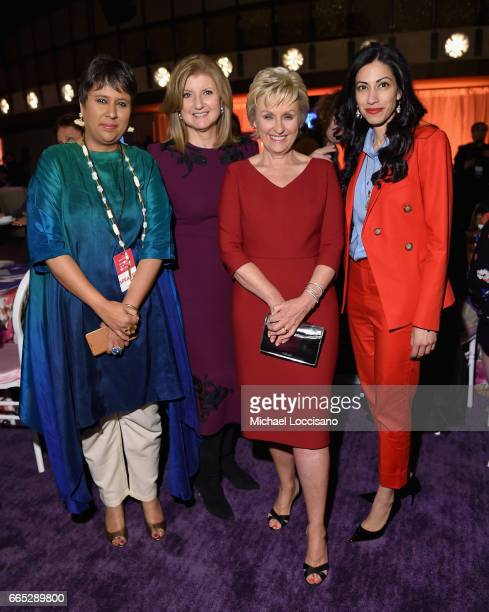 Barkha Dutt Arianna Huffington Tina Brown Huma Abedin attend the Eighth Annual Women In The World Summit at Lincoln Center for the Performing Arts on...