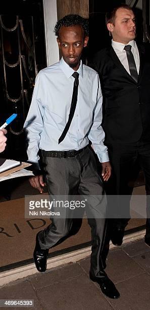 Barkhad Abdi is seen leaving Claridge's hotel Mayfair on February 15 2014 in London England