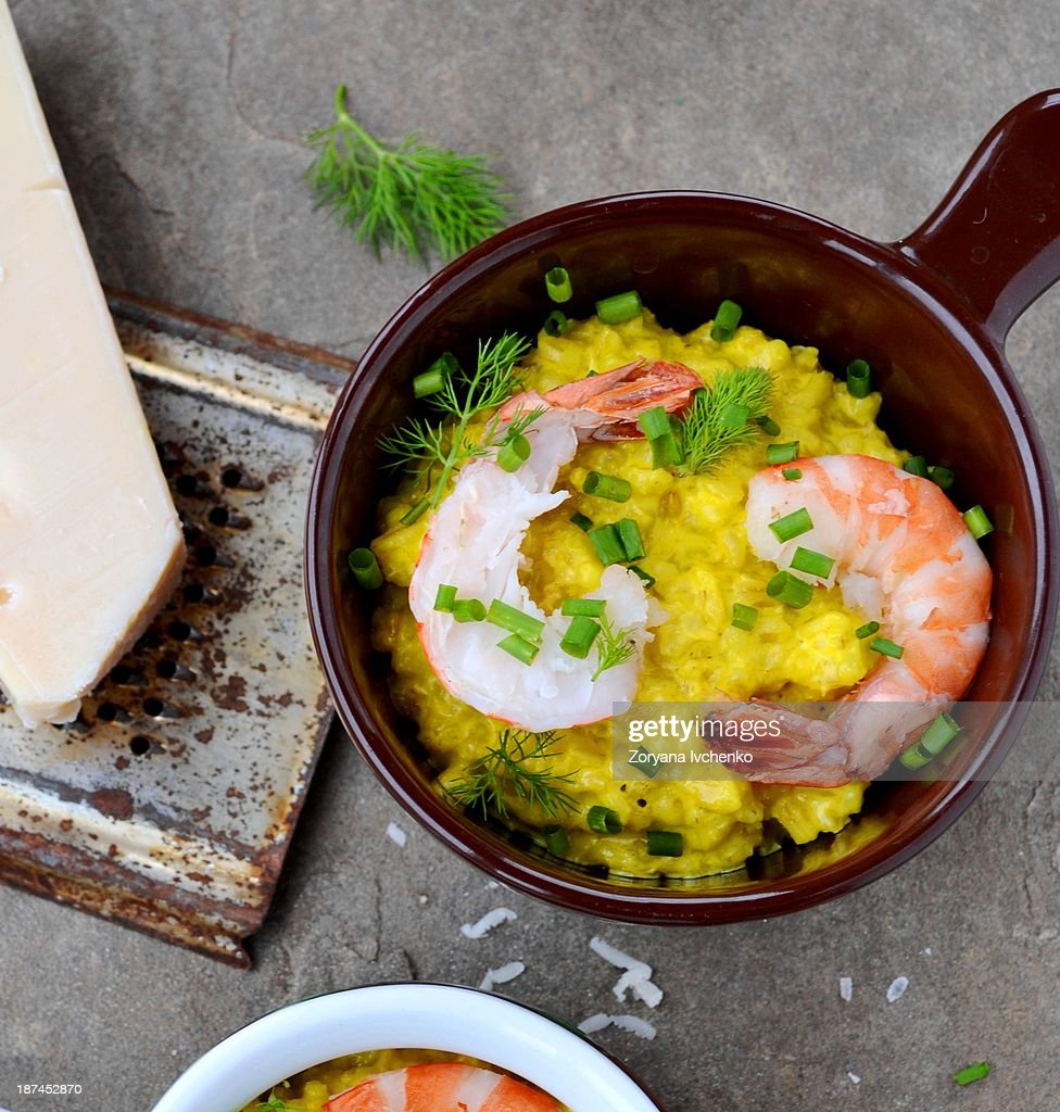Barley groat risotto with shrimps