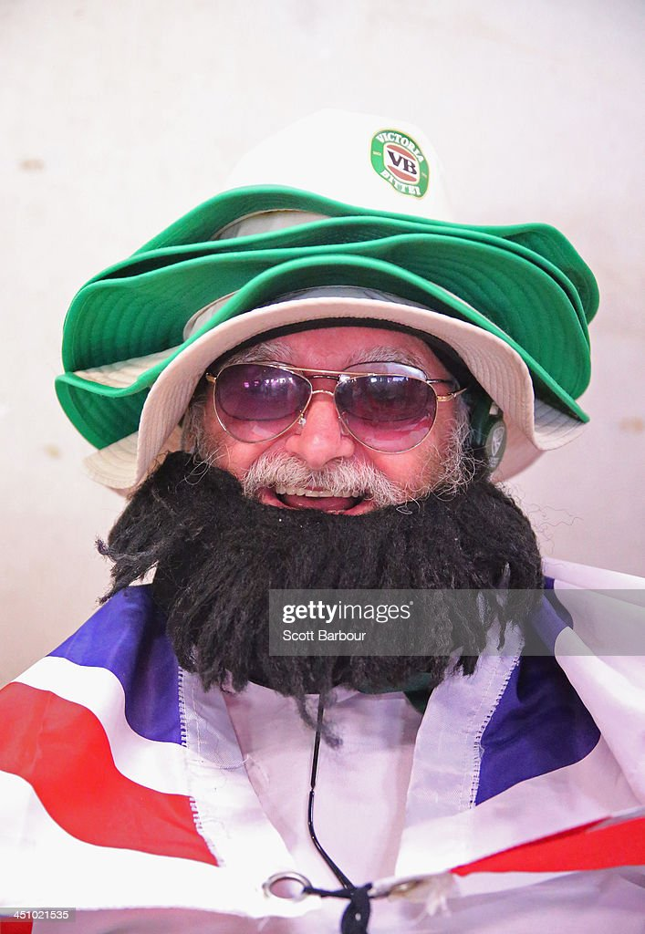 A Barmy Army member poses during day one of the First Ashes Test match between Australia and England at The Gabba on November 21, 2013 in Brisbane, Australia. The Barmy Army is a group of English cricket fans which arranges touring parties for some of its members to support the English cricket team on overseas tours, as well as followers of the team who join in with match day activities in the crowd, but do not travel as part of an organised tour.