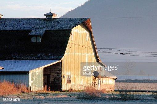 Barn Lit by Sunrise : Stock Photo