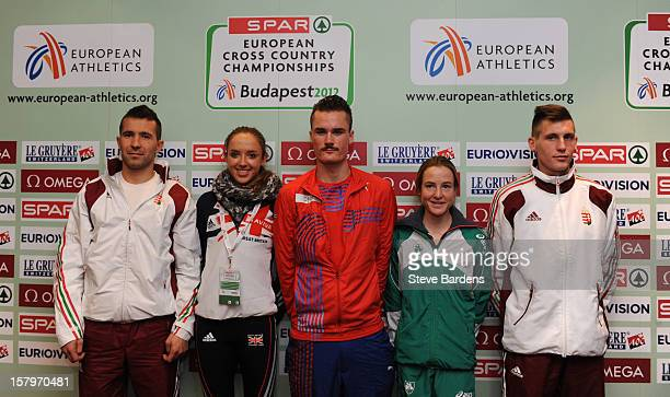 Barna Bene of Hungary Emilie Gorecka of Great Britain Henrik Ingebrigtsen of Norway Fionnuala Britton of Ireland and Sandor Szabo of Hungary after a...
