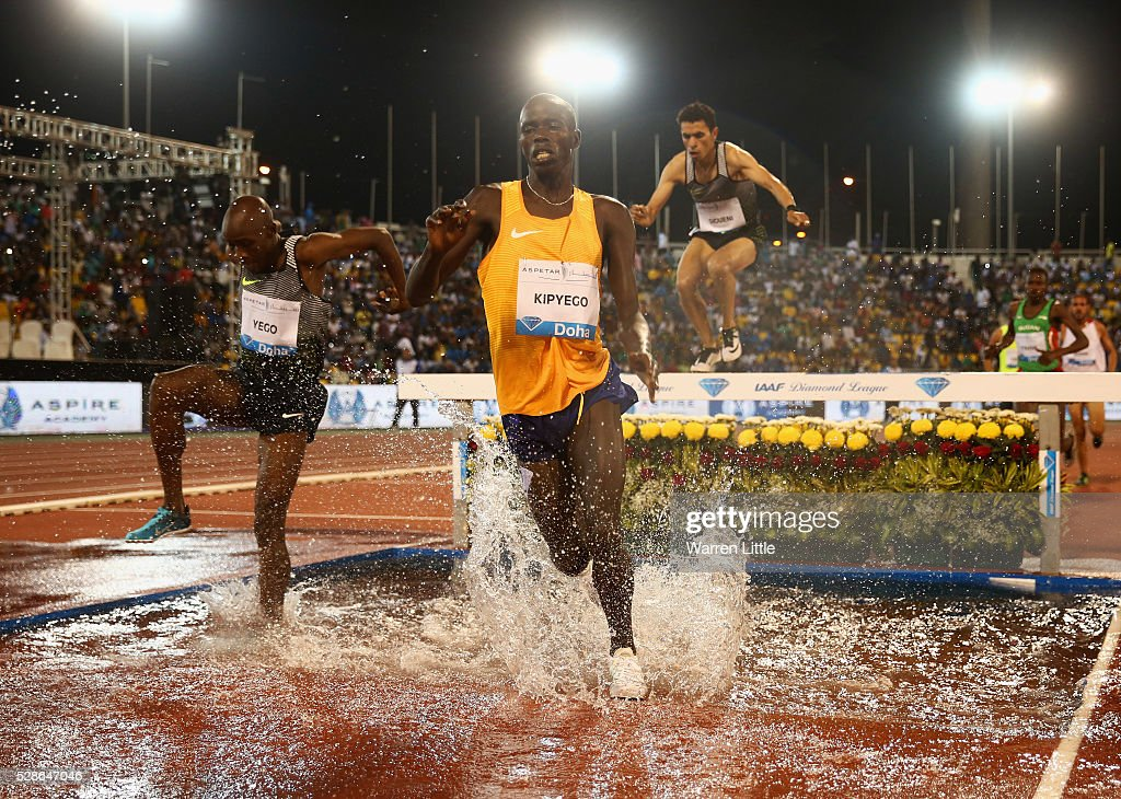 Barnabas Kipyego of Kenya clears the water jump in the Men's 3000 metres Steeplechase final during the Doha IAAF Diamond League 2016 meeting at Qatar Sports Club on May 6, 2016 in Doha, Qatar.