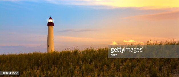 Barnegat Lighthouse at sunset, New Jersey