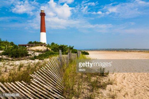 Farol de Barnegat, a areia da praia e Dunas vedação, Nova Jersey