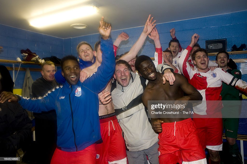 Barnes Albion player celebrate the teams win in the changing rooms after the FA Sunday Cup Semi Final match between Barnes Albion and Upshire at Wheatsheaf Park on March 24, 2013 in Staines, England,