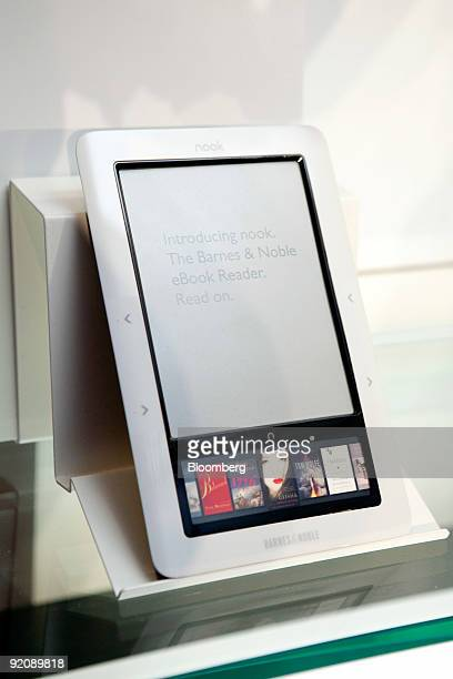 Barnes Noble Inc's new electronicbook reader called the The Nook sits on display at a news conference in New York US on Tuesday Oct 20 2009 Barnes...