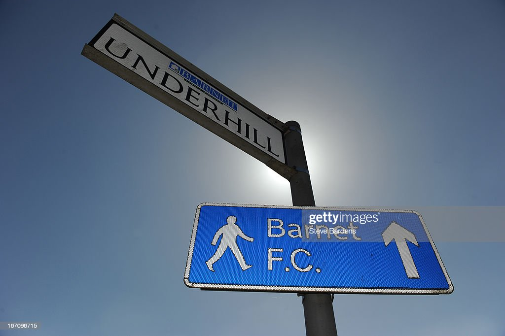 Barnet FC sign outside Underhill Stadium before the club's last fixture at the venue the npower League Two match between Barnet and Wycombe Wanderers...