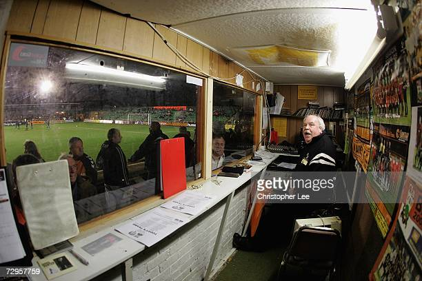 Barnet Football Club's commentator Dick Rolfe in his radio booth during the FA Cup sponsored by EON 3rd Round match between Barnet and Colchester...