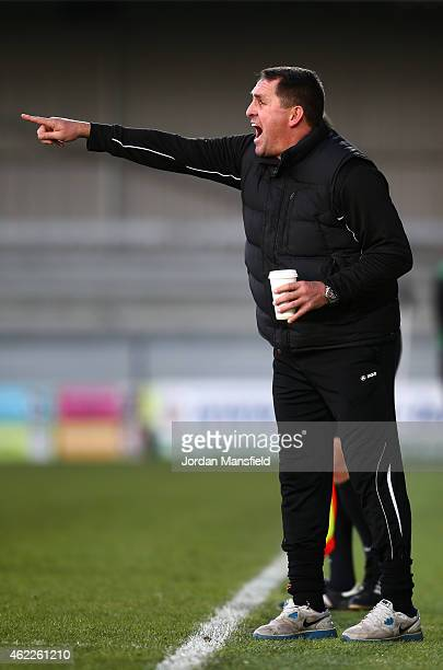 Barnet manager Martin Allen calls from the sidelines during the Vanarama Football Conference League match between Barnet and Southport at The Hive on...