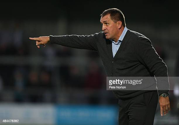 Barnet manager Martin Allen gives instructions during the Sky Bet League Two match between Barnet and Northampton Town at The Hive on August 18 2015...