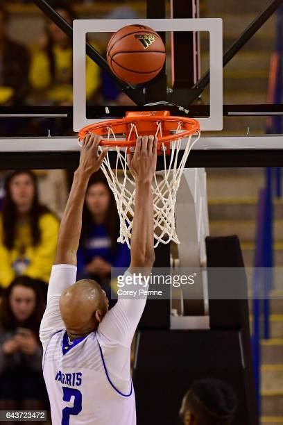 Barnett Harris of the Delaware Fightin Blue Hens can't get his dunk to fall against the William Mary Tribe during the second half at the Bob...