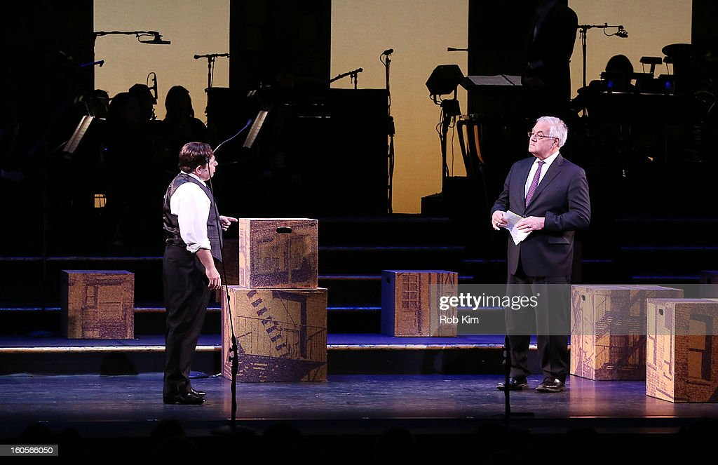 Barney Frank (R) makes his stage debut in 'Fiorello!' with actor Danny Rutigliano at New York City Center on February 2, 2013 in New York City.