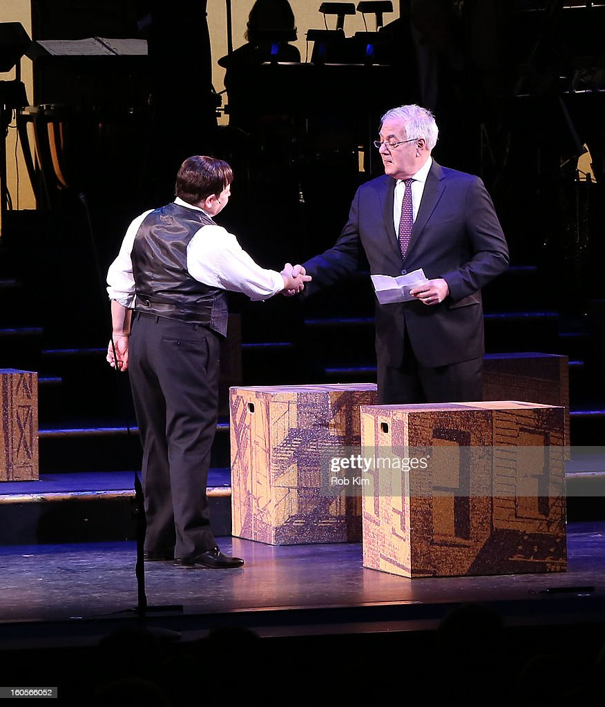 <a gi-track='captionPersonalityLinkClicked' href=/galleries/search?phrase=Barney+Frank&family=editorial&specificpeople=216439 ng-click='$event.stopPropagation()'>Barney Frank</a> (R) makes his stage debut in 'Fiorello!' with actor Danny Rutigliano at New York City Center on February 2, 2013 in New York City.