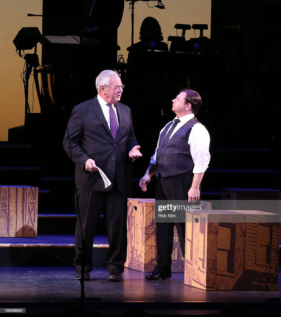 Barney Frank (L) makes hs stage debut in 'Fiorello!' with actor Danny Rutigliano at New York City Center on February 2, 2013 in New York City.