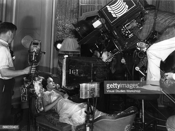Barney McGill filming Doloros del Rio on the set of 'Life of a Lancer Spy' early to mid 20th century