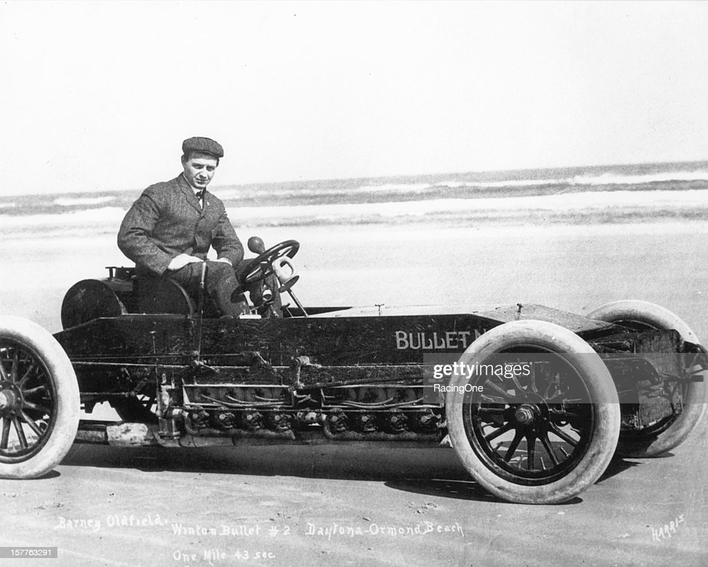 Barney Oldfield ran the Measured Mile on Daytona Beach in 43 seconds driving the Winton Bullet No 2