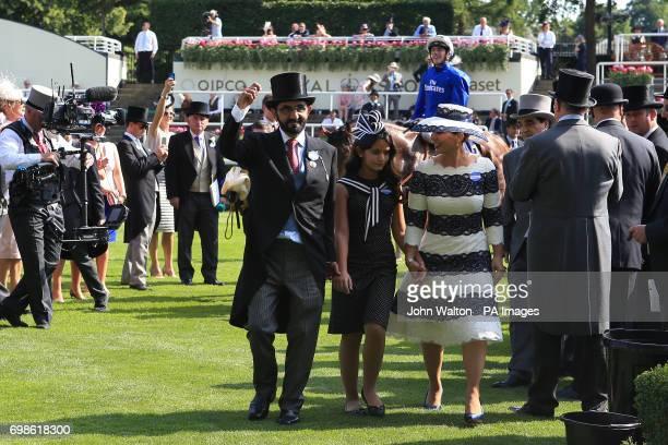 Barney Roy owner Sheikh Mohammed bin Rashid Al Maktoum and Princess Haya bint Al Hussein of Jordan celebrate in the winners encloser after winning...