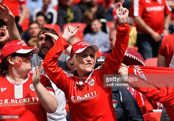 Barnsley fans during the Sky Bet League One Play Off Final between Barnsley and Millwall at Wembley Stadium on May 29 2016 in London England