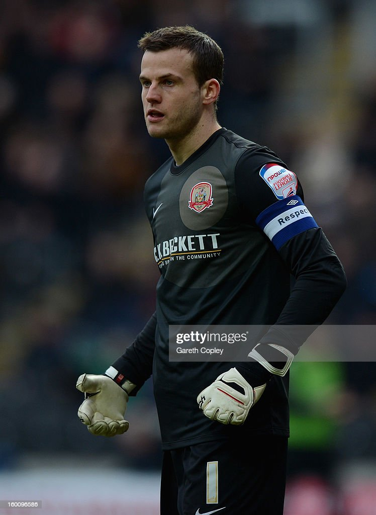 Barnsley goalkeeper Luke Steele during the FA Cup Fourth Round between Hull City and Barnsley at KC Stadium on January 26, 2013 in Hull, England.