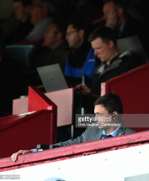 Barnsley manager Paul Heckingbottom watches on from the stand as he serves a touchline ban during the Sky Bet Championship match between Barnsley and...