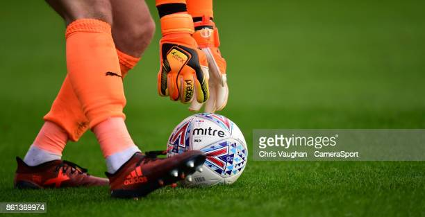 Barnsley's Adam Davies picks up a Mitre Delta EFL match football during the Sky Bet Championship match between Barnsley and Middlesbrough at Oakwell...