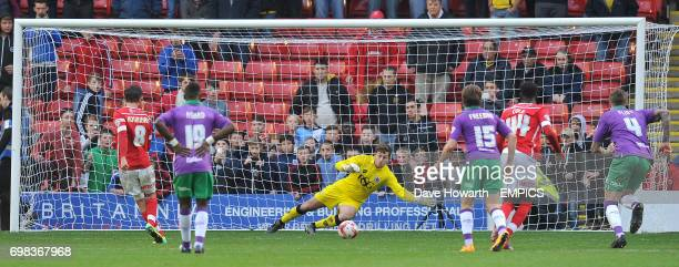 Barnsley's Conor Hourihane scores his team's second goal from the penalty spot