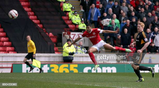 Barnsley's Jacob Mellis scores against Hull City during the npower Championship match at Oakwell Barnsley