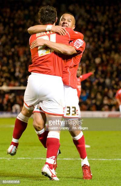 Barnsley's Jonathan Macken celebrates scoring the opening goal with Simon Whaley during the CocaCola Football Championship match at Oakwell Barnsley