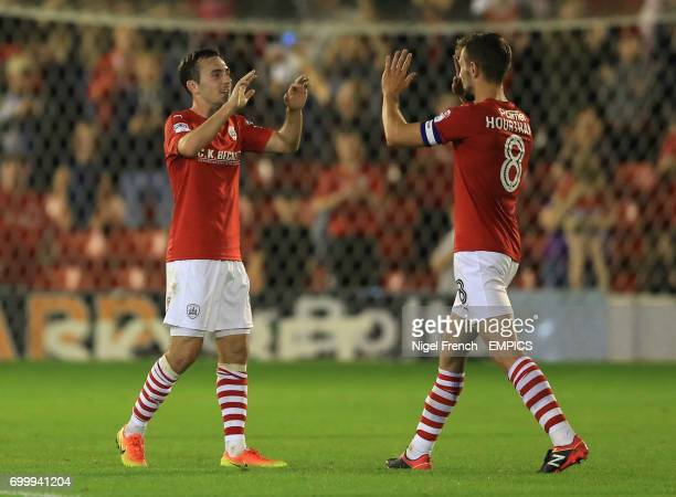 Barnsley's Josh Scowen celebrates with Conor Hourihane after the game against Queens Park Rangers'