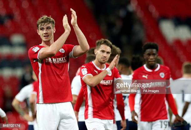 Barnsley's Liam Lindsay acknowledges the fans after the final whistle in the Carabao Cup third round match at Wembley Stadium London