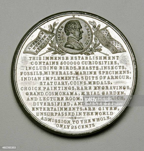 Barnum's Museum token embossed on one side with a large urban 5 or 6 story building flying a pennant marked 'Museum' encircled by the words 'New...