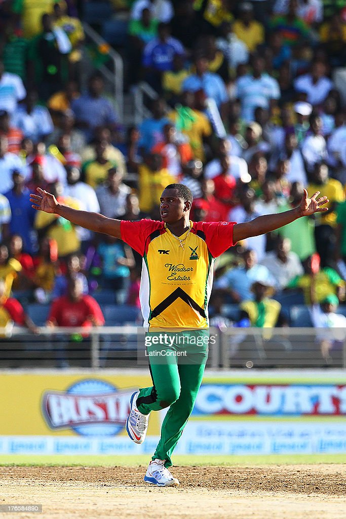 Barnwell bowls Guyana Amazon Warriors to victory in the final over during the Sixteenth Match of the Cricket Caribbean Premier League between Jamaica Tallawahs v Guyana Amazon Warriors at Sabina Park on August 15, 2013 in Kingston, Jamaica.