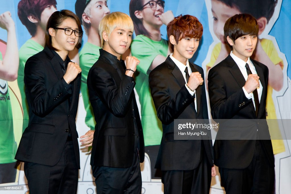 CNU Baro Jinyoung and Sandeul of South Korean boy band B1A4 attend during to promote the KBS Joy real infant care variety 'Hello Baby' on July 24...