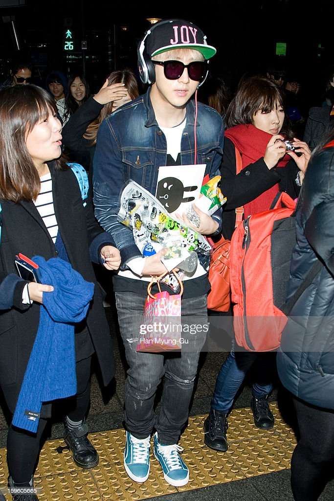Baro of South Korean boy band B1A4 is seen at Incheon Inaternational Airport on January 16, 2013 in Incheon, South Korea.