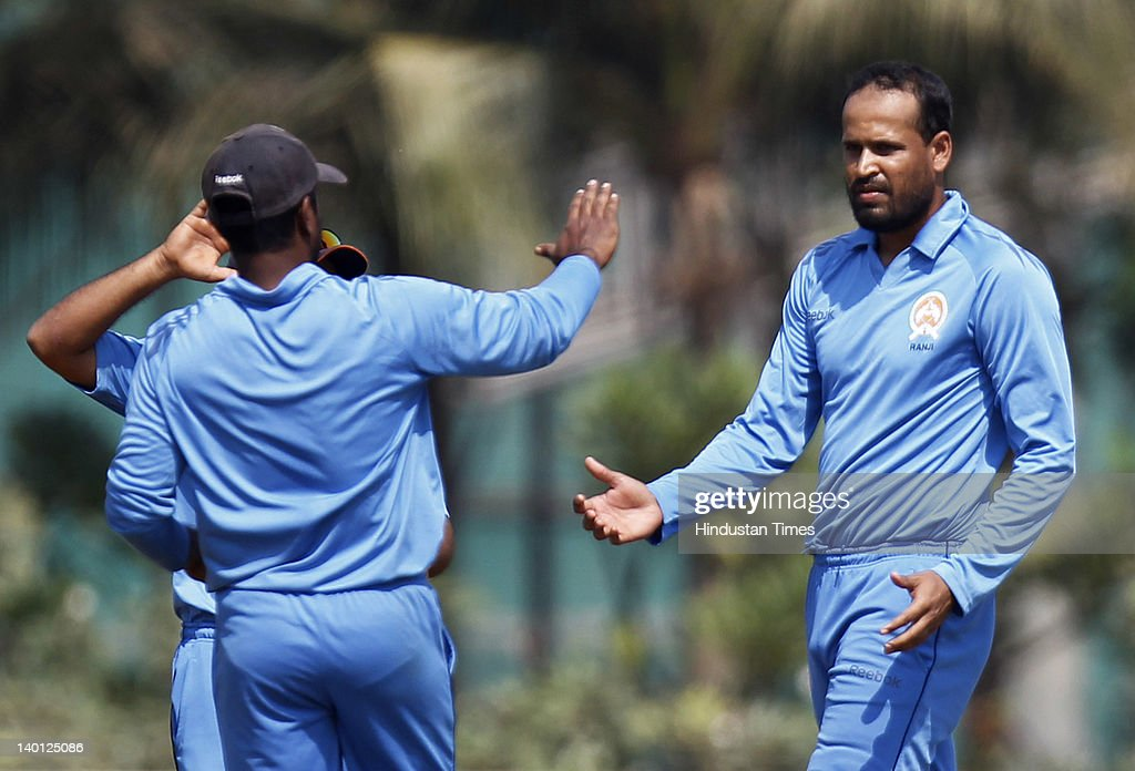 Baroda bowler <a gi-track='captionPersonalityLinkClicked' href=/galleries/search?phrase=Yusuf+Pathan&family=editorial&specificpeople=4126607 ng-click='$event.stopPropagation()'>Yusuf Pathan</a> (R) celebrates after taking a wicket during the Vijay Hazare Trophy one day match between Maharashtra and Baroda at Bandra Kurla Complex ground on February 28, 2012 in Mumbai, India. Baroda won the match by reaching the target 125 after losing just 4 wicket.