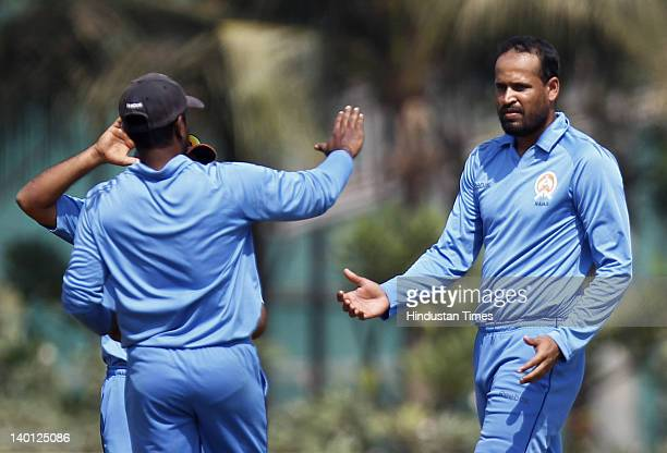 Baroda bowler Yusuf Pathan celebrates after taking a wicket during the Vijay Hazare Trophy one day match between Maharashtra and Baroda at Bandra...
