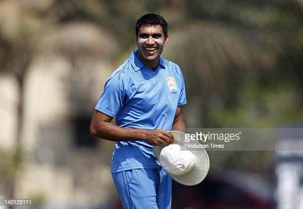 Baroda pacer Munaf Patel celebrates the wicket of Maharashtra player Sangram Dilp Atitkar during the Vijay Hazare Trophy one day match between...