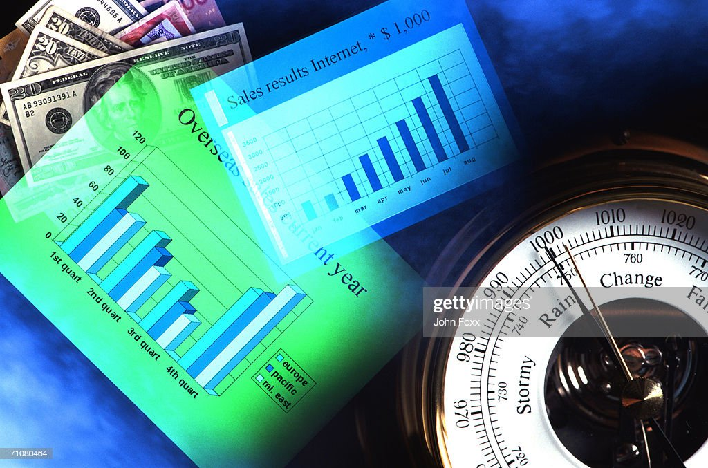 Barometer, currency and financial graph on blue background : Stock Photo