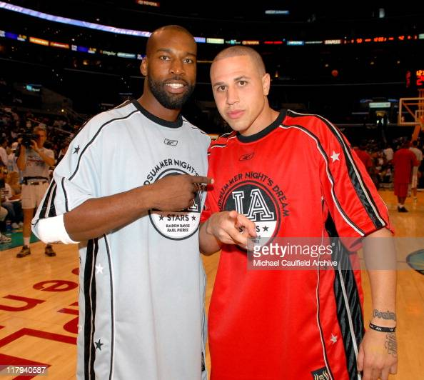 Baron Davis and Mike Bibby during A Midsummer Night's AllStar Basketball Game on July 9 2006 at the Staples Center in Los Angeles Calif