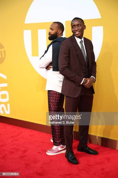 Baron Davis and Victor Oladipo of the Oklahoma City Thunder on the red carpet at the NBA Awards Show on June 26 2017 at Basketball City at Pier 36 in...