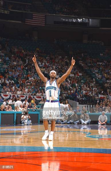 Baron Davis of the Charlotte Hornets celebrates against the New Jersey Nets during game 3 of the Eastern Conference semifinals at the Charlotte...