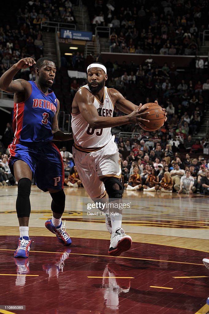 Baron Davis #85 of the Cleveland Cavaliers drives to the basket against Rodney Stuckey #3 of the Detroit Pistons during the game at The Quicken Loans Arena on March 25, 2011 in Cleveland, Ohio.