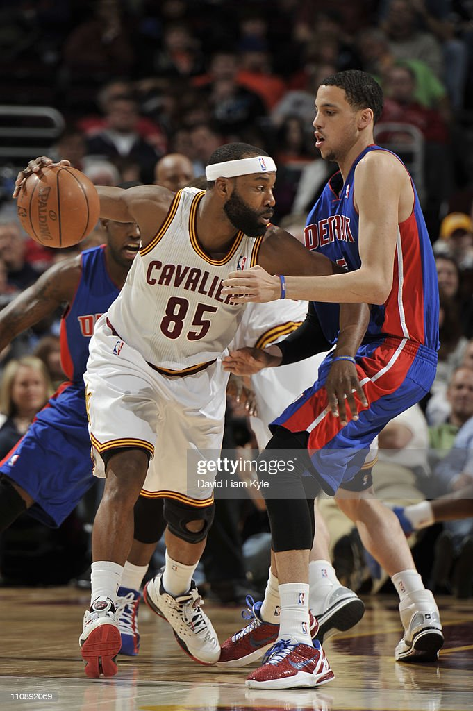 <a gi-track='captionPersonalityLinkClicked' href=/galleries/search?phrase=Baron+Davis&family=editorial&specificpeople=201592 ng-click='$event.stopPropagation()'>Baron Davis</a> #85 of the Cleveland Cavaliers drives to the basket <a gi-track='captionPersonalityLinkClicked' href=/galleries/search?phrase=Austin+Daye&family=editorial&specificpeople=4682416 ng-click='$event.stopPropagation()'>Austin Daye</a> #5 of the Detroit Pistons during the game at The Quicken Loans Arena on March 25, 2011 in Cleveland, Ohio.