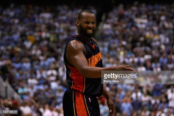 Baron Davis of the Golden State Warriors reacts to a call in Game Five of the Western Conference Semifinals against the Utah Jazz during the 2007 NBA...