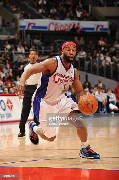 Baron Davis of the Los Angeles Clippers dribble drives to the basket against the Utah Jazz during the game on March 1 2010 at Staples Center in Los...
