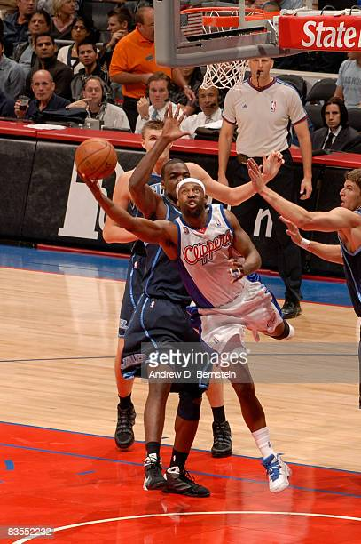Baron Davis of the Los Angeles Clippers goes up for a shot against the Utah Jazz at Staples Center on November 3 2008 in Los Angeles California NOTE...